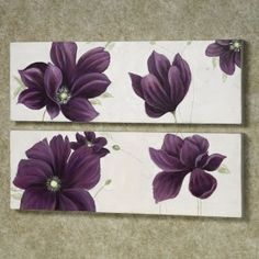 gray walls in a bathroom purlpe accents   Home Floral Whispers Canvas Art Set Purple Set