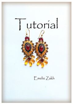 Beading tutorial.Exclusive earrings. ! PDF file containing instructions for making the Crystal earrings, not the earrings itself. by emeliebeads. Explore more products on http://emeliebeads.etsy.com