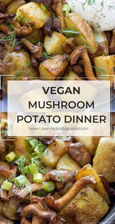 Easy Vegan Dinner, Vegan Dinner Recipes, Veg Recipes, Vegan Dinners, Whole Food Recipes, Vegetarian Recipes, Cooking Recipes, Healthy Recipes, Potato Mushroom Recipe