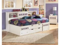 Girls Youth Bedroom Twin/Full Bedside   -Great idea for a small room  -  Bookcase Headboard B131-85