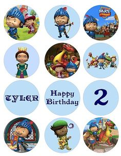 Mike the Knight digital cupcake toppers