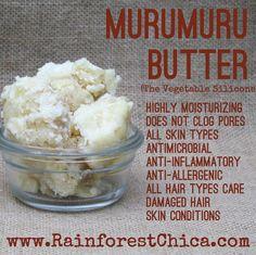 Cheat Sheet - Murumuru Butter – Rainforest Chica (great for curly hair! Organic Beauty, Organic Skin Care, Organic Makeup, Diy Skin Care, Skin Care Tips, Natural Hair Care, Natural Hair Styles, Natural Beauty, Homemade Body Butter