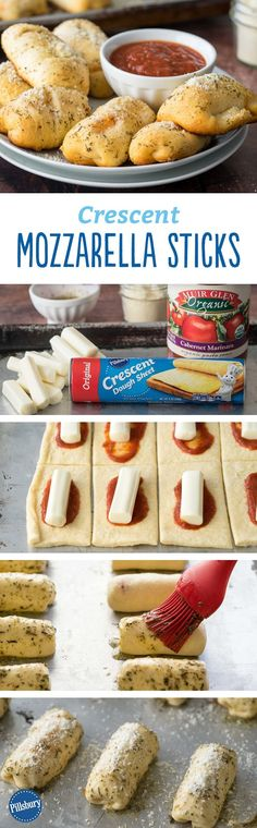 Crescent Mozzarella Sticks - Finally, a reason to eat mozzarella sticks for dinner. These flavorful mozzarella sticks are an easy version to make at home. Kids will love dipping them in extra marinara sauce! home schooling ideas Crescent Mozzarella Sticks I Love Food, Good Food, Yummy Food, Yummy Snacks, Yummy Recipes For Dinner, Fingers Food, Desserts Sains, Homemade Food Gifts, Diy Food