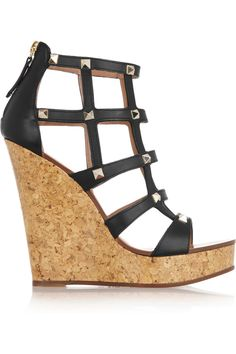 I am always big fan of the studded Valentino, and these are no different. Valentino Black, Crazy Shoes, Me Too Shoes, Purple High Heels, Caged Sandals, Leather Wedges, Buy Shoes, Beautiful Shoes, Zapatos