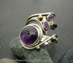 Purple: Purple amethyst sterling silver ring, large, wrap around style,... - Rings