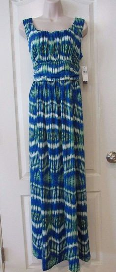 AB Studio Print Maxi Dress - ' Blue Green White Women Sz M & L NWT MSRP$54  | eBay