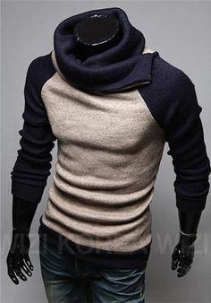 Men's High Collar Pullover Sweater