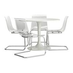 DOCKSTA / TOBIAS Tafel en 4 stoelen IKEA Door de veerkrachtige zitting en rugleuning zit je comfortabel.