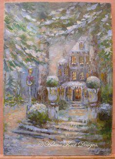 Christmas lodge -  Winter night Christmas Snow Scene   par Helene Flont - Etsy shop