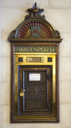 Davenport Hotel Mailbox, vintage just inside the hotel's north entrance. Spokane, WA // Absolutely gorgeous old hotel, incredibly elegant Antique Mailbox, Old Mailbox, Vintage Mailbox, Davenport Hotel, Unique Mailboxes, You've Got Mail, Going Postal, Art Nouveau, Art Deco