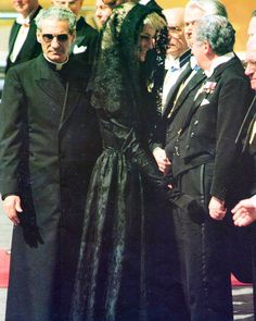 29 April 1985: Princess Diana visits The Vatican in Rome for a private audience with Pope John Paul II, during her first official tour of Italy. As protocol dictates, the princess wore a calf-length black lace Victorian style dress with a mantilla veil