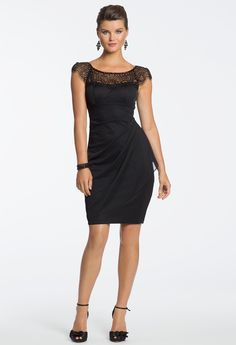 Beaded Yoke Short Black Dress by Camille La Vie & Group USA