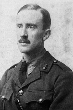 J.R.R. Tolkien, aged 24, in military uniform, while serving in the British Army during World War I, 1916. I've only ever seen pictures of him when he was much older, what a handsome young man he was, and what an imagination, so clever, the Shire, Mordor.  I think he knew Jack Lewis