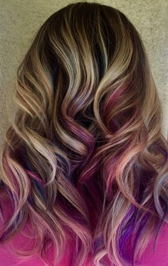 Blue, pink, and purple peekaboo highlights on blonde hair. -- Am I too old for this?