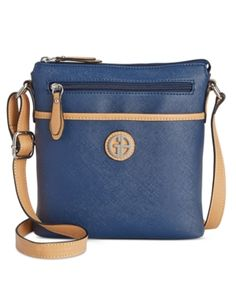 Giani Bernini Saffiano Crossbody, Only at Macy's  - Blue