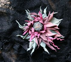 """Handmade flower brooch """"Pink star"""" by GiftsGoods on Etsy"""