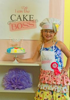 How cute is this?!  A cake boss themed party where kids make their own aprons, hats and cake, of course! Kudos to Passion for Parties.com for an amazing party idea!