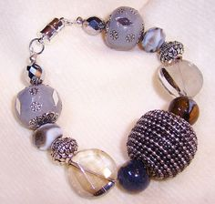 """Chunky"" Bracelet in greys, creams and soft round faceted crystals $39.99  www.perfectaccentsbylori,com/shop.html"