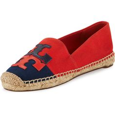 Tory Burch Jamie Two-Tone Logo Espadrille Flat ($175) ❤ liked on Polyvore featuring shoes, flats, tory burch flats, red cap, red shoes, leather flats and leather flat cap