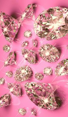 Diamonds on Pink Wallpaper.By Artist Unknown. Bling Wallpaper, Wallpaper Backgrounds, Pink Diamond Wallpaper Iphone, Wallpaper Wallpapers, Whatsapp Pink, Pretty Wallpapers, Pink Walls, Cellphone Wallpaper, Wall Collage