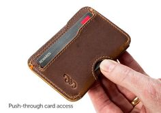 Slim Credit Card Wallet Features: Holds 2-5 cards & cash Full-grain American leather interior & exterior Parachute-grade, UV-resistant nylon stitching 3 pockets/compartments for cards and cash Perfect front-pocket fit with rounded corners Stay-slim compact design Easy-slide card pockets