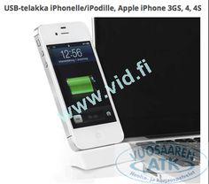 USB-telakka iPhonelle/iPodille, Apple iPhone 3GS, 4, 4S ja Apple iPod touch (1G, 2G, 3G, 4G), telakkaliitos, käännettävä 180 astetta, valkoinen