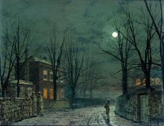 The Old Hall Under Moonlight  Artist: John Atkinson Grimshaw