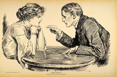 Amazon.com: 1906 Charles Dana Gibson Girl Lovers Love Lawyer Print - Original Halftone Print: Posters & Prints