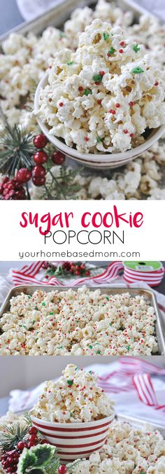 Sugar Cookie Popcorn Recipe - This yummy treat has a secret ingredient youre going to love. Healthy game movie gluten free girls ideas date late carvings fight poker triva ladies guys friday burns hens saturday easy photography party boys market quotes co Gourmet Popcorn, Flavored Popcorn, Popcorn Recipes, Snack Recipes, Dessert Recipes, Oats Recipes, Popcorn Snacks, Popcorn Balls, Sugar Popcorn