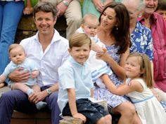 Princess Mary and Crown Prince Frederik with their children.