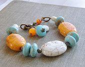 Chunky Bead Bracelet Turquoise Magnesite White Orange Aqua Blue Pyrite Gemstone Brass Autumn Fall, Handmade Jewelry under 50 Gifts