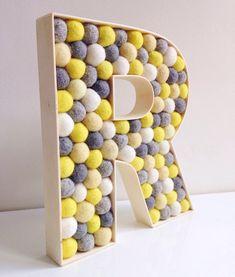 Felt ball filled Wooden Letter R by hoppsydaisy - Nursery Decor, Kids Room Decor, Decorative Nursery Letter