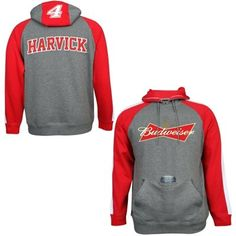 Mens Kevin Harvick Chase Authentics Gray Budweiser Huzu Pullover Hoodie