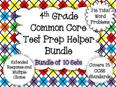 This resource contains a bundle of all of my 4th Grade Common Core Math Test Helpers. You can find each individual listing by clicking here.Buying the bundle will save you over 25%.Each set contains a mixture of extended response and multiple choice problems.