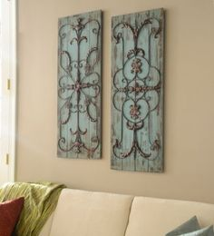 Whether your décor is vintage chic or a fabulous farmhouse, this Adelaide Wall Plaque Set will add color and detail. Each plaque features a unique metal pattern for your decorating delight. #kirklands #SpringisintheAir