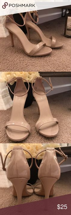 "Nude patent leather Express strapy heels Great nude strap it heels, worn lightly. Aside from a small dings here and there that a very unnoticeable these heels are in EXCELLENT condition! From a pet free and smoke free home. About a 4"" heel. Express Shoes Heels"