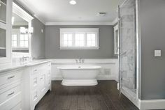 faux wood tile, gray walls, marble tiles in shower but black/wood vanity Gorgeous Master Bath - traditional - bathroom - cincinnati - Michaelson Homes LLC