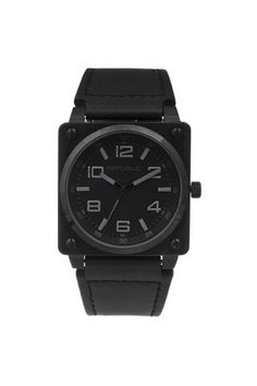 Republic Watches Stainless Steel All Black Leather Strap Aviation Watch