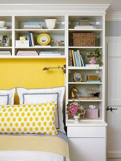 Built-in Bookcases Around Bed; White, Yellow and Grey Bedding