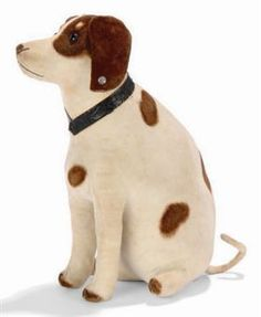 STEIFF LARGE SEATED RATTLE POINTER DOG  white velvet with brown spots, black boot button eyes, black stitching, collar and elephant button, circa 1905.