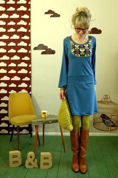 """Knielange jurken - KLEID """"MINNY"""" IN TAUBENBLAU MIT WEITEN ÄRMELN - Een uniek product van Bonnie-and-Buttermilk op DaWanda"""