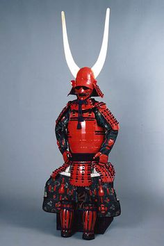 """. Ii Naomasa's yoroi (samurai armor). He is also known as the """"Red Demon"""". A historic figure and one of the Four Guardians of the Tokugawa in Japanese history. He is best known for his fearsome blood-red samurai armor and nasty habit of killing people over mistakes."""