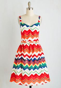 Fill your heart with passion and your wardrobe with beauties like this cotton A-line dress, and jubilation is sure to follow! Part of our ModCloth namesake label, this woven wonder makes your day with prismatic chevron stripes, a tailored bodice touched with ruching, and secret pockets on its gathered skirt. Glorious!