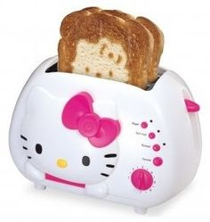 Hello Kitty toaster   This toaster works great!!!  Love the HK face it toasts on the bread!