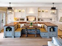 Island bench for the kitchen as well as your dining room table and chairs connected to it. Yes please!!!