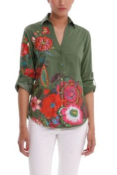 Look what I found on Verde Londres Sabina Button-Up Top by Desigual Cute Fashion, Spring Fashion, Shirt Blouses, Shirts, Bohemian Style, Bohemian Fashion, African Fashion, My Outfit, Cute Outfits