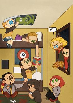 SHIELD Community College invaded by Asgard Community College students! Epic party/battle commences.