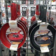 See that opposite facings of cookware are aligned back-to-back. Only a double walled arrangement of Slatwire or Grid, one surface facing each way, allows this alignment minimizing confusion and hoo. Kitchen Supply Store, Kitchen Dishes, Kitchen Supplies, Skillet, Gifts For Dad, Cookware, Packaging Design, Hooks, Grid