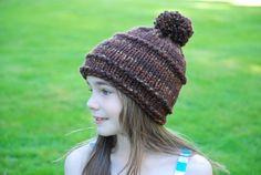 Girls Chocolate Brown Beanie Hand Knit Tweed Coffee by AquaLumen, $29.00