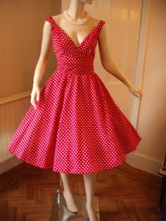 Red polka dot dress...so pretty. @Stephanie Close Mennemeyer, this would look so good on you!